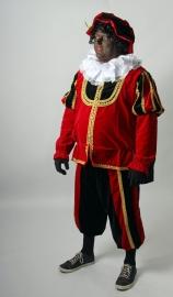Piet rood zwart deluxe met zwarte cape