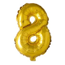 Folieballon cijfer 8 Goud XL