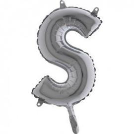 Zilveren Letter Folie ballon S
