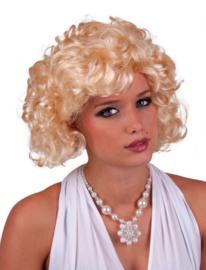 Korte pruik, blonde krullen