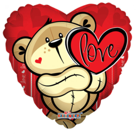 Folieballon hart met beer