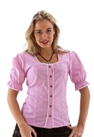 Roze wit geblokte blouse