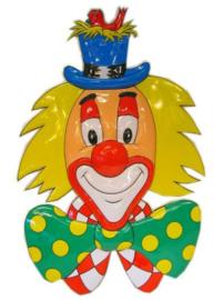 Wanddeco clown met hoed
