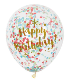 Ballonnen Happy Birthday confetti gekleurd