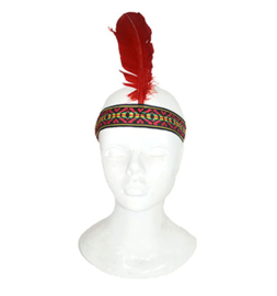 Haarband indiaan met veer