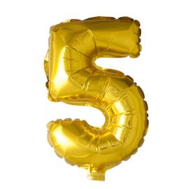 Folieballon cijfer 5 Goud XL
