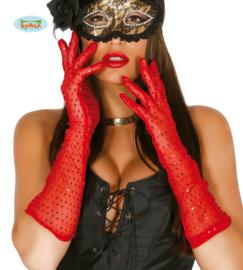Handschoenen pailletten rood