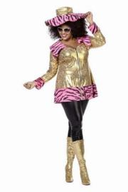 Gouden jas/ tuniek met roze zebrabont