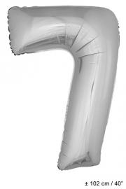 Zilveren XL Folie ballon cijfer 7