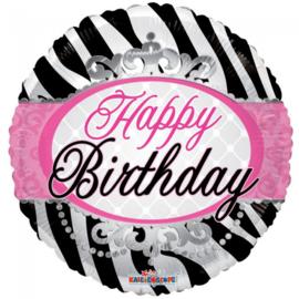 Folieballon Happy Birthday zebraprint