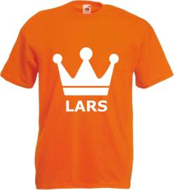 Shirt oranje kinderen met kroon en naam
