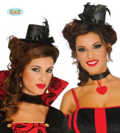 Hoge mini dames hoed, zwart