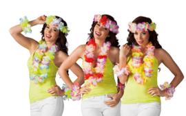 Hawaii set deluxe, blauw-groen-geel-paars