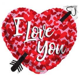Folieballon hart met pijl I love you
