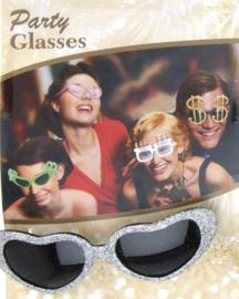 Hartjes glitter bril, goud of zilver