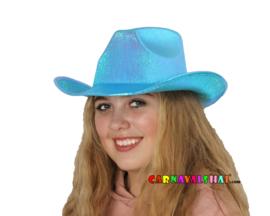 Blauwe of Roze metallic cowboyhoed