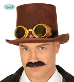 Hoge bruine steampunk hoed met bril