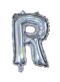 Zilveren Letter Folie ballon R