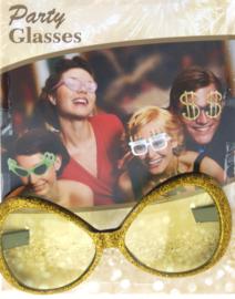 Grote glazen glitter bril, goud of zilver