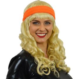 Zweetband haarband neon oranje