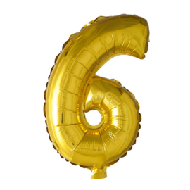 Folieballon cijfer 6 Goud XL