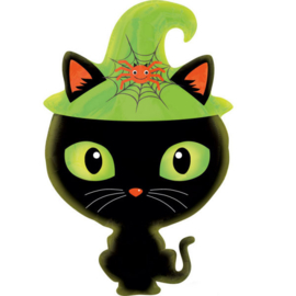 Folieballon zwarte kat met heksenhoed