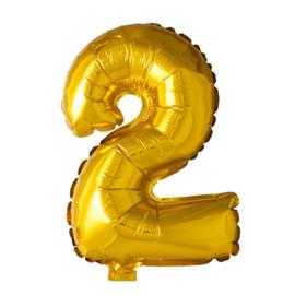 Getalballon goud cijfer 2