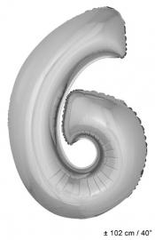 Zilveren XL Folie ballon cijfer 6