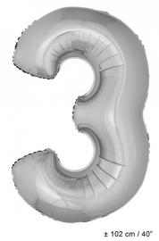 Zilveren XL Folie ballon cijfer 3