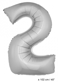 Zilveren XL Folie ballon cijfer 2