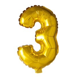 Folieballon cijfer 3 Goud XL