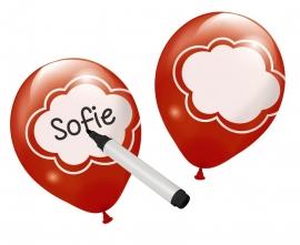 writable rode ballonnen met wolken