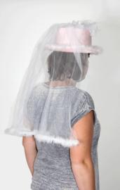 Hoed bruid roze