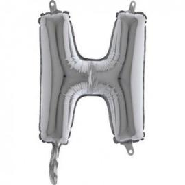 Zilveren Letter Folie ballon H