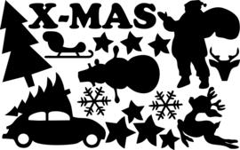 Raamfolie Sneeuwpop en Kerstman