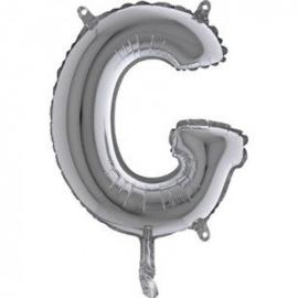 Zilveren Letter Folie ballon G