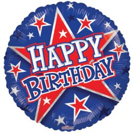 Folieballon Happy Birthday sterren