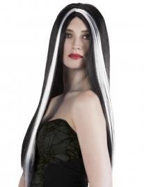 Pruik lang haar zwart-wit