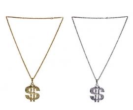 Dollar ketting Goudkleurig of Zilverkleurig