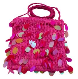 Roze paillet tas