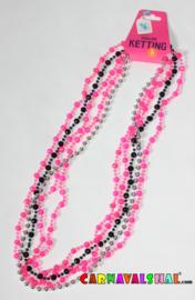 Kralenketting zwart-roze-zilver