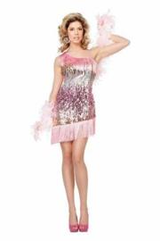 Charleston jurk in het roze, goud en zilver