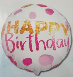 Folieballon roze dots Happy birthday