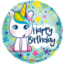 Folieballon Happy Birthday Unicorn