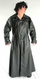 Lange zwarte leren jas