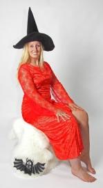 Rode spinneweb jurk