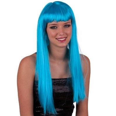 Lange Pruiken Echt Haar.Pruik Lang Haar Blauw Pruiken Snorren En Baarden