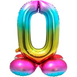 Folieballon cijfer 0 rainbow met standaard