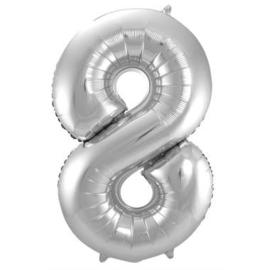 Folieballon cijfer 8 Zilver 86cm