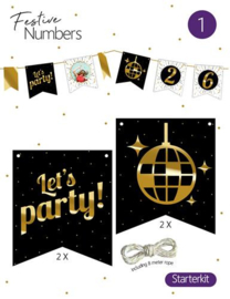 "Festive numbers starter kit ""Let's Party"" 4 st. + lijn"